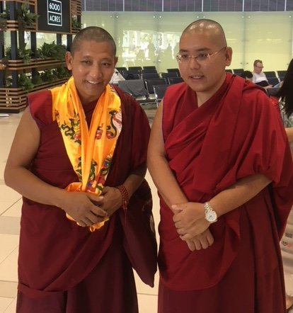 Geshe Ngawang Sonam with His Eminence Ling Rinpoche in Perth Airport on 20 Mar 2018